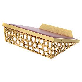 Atril de mesa latón fundido dorado y simil cuero red dorada s4