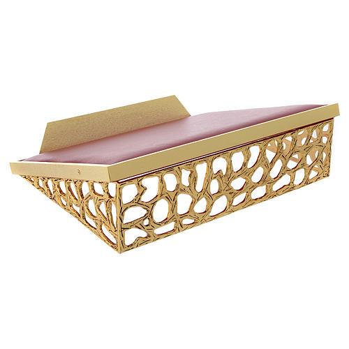 Atril de mesa latón fundido dorado y simil cuero red dorada 1