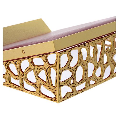 Atril de mesa latón fundido dorado y simil cuero red dorada 2