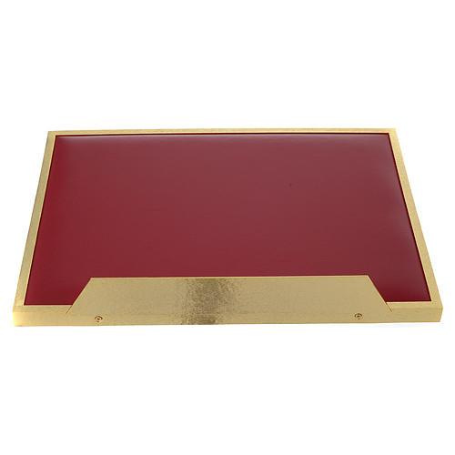 Atril de mesa latón fundido dorado y simil cuero red dorada 5