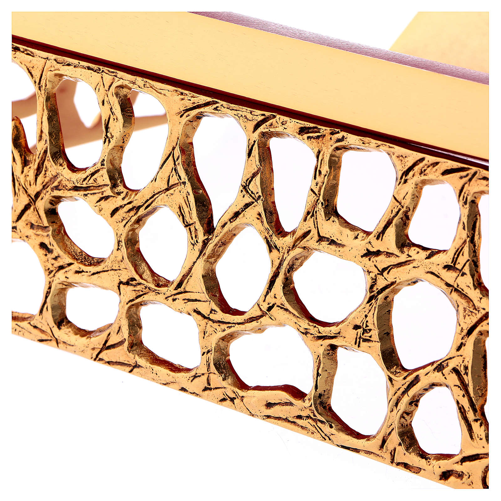 Leggio da mensa rete dorata piano finta pelle 4