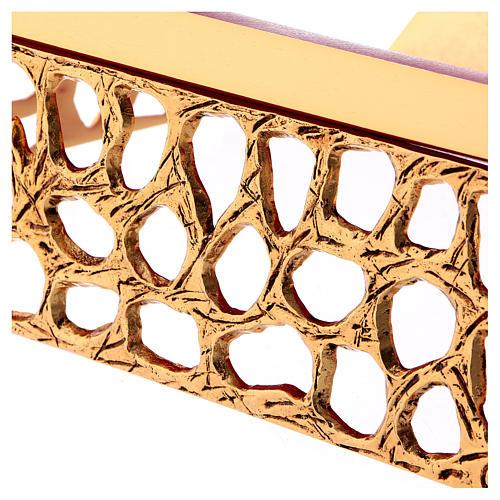 Leggio da mensa rete dorata piano finta pelle 3