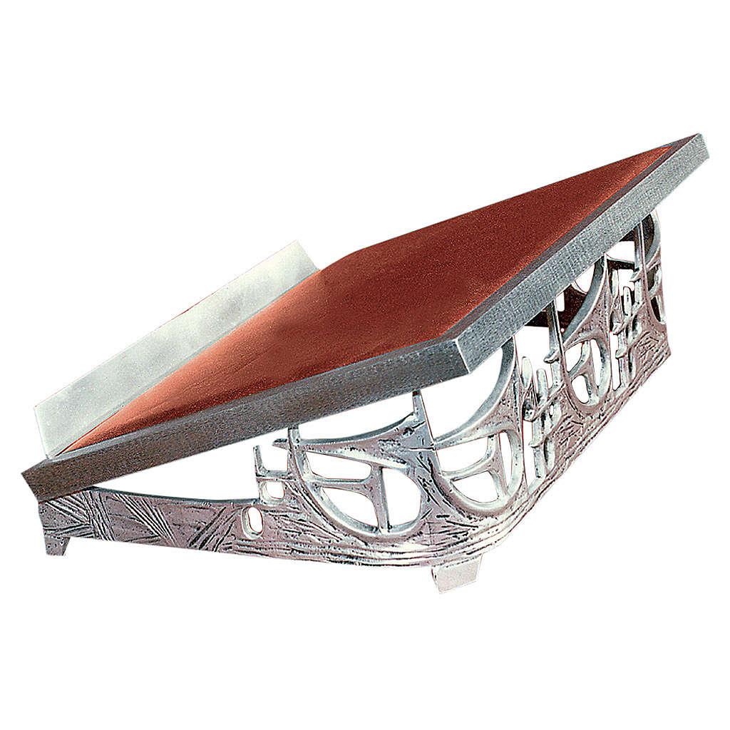Atril de mesa latón fundido plateado rayos 4