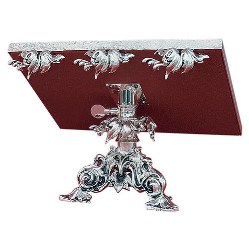 Leggio da mensa girevole ottone fuso argento 1