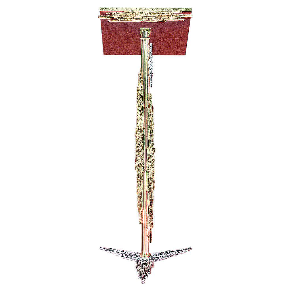 Atril con columna latón fundido dorado y plateado, 106 cm 4