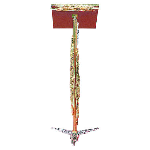 Atril con columna latón fundido dorado y plateado, 106 cm 1