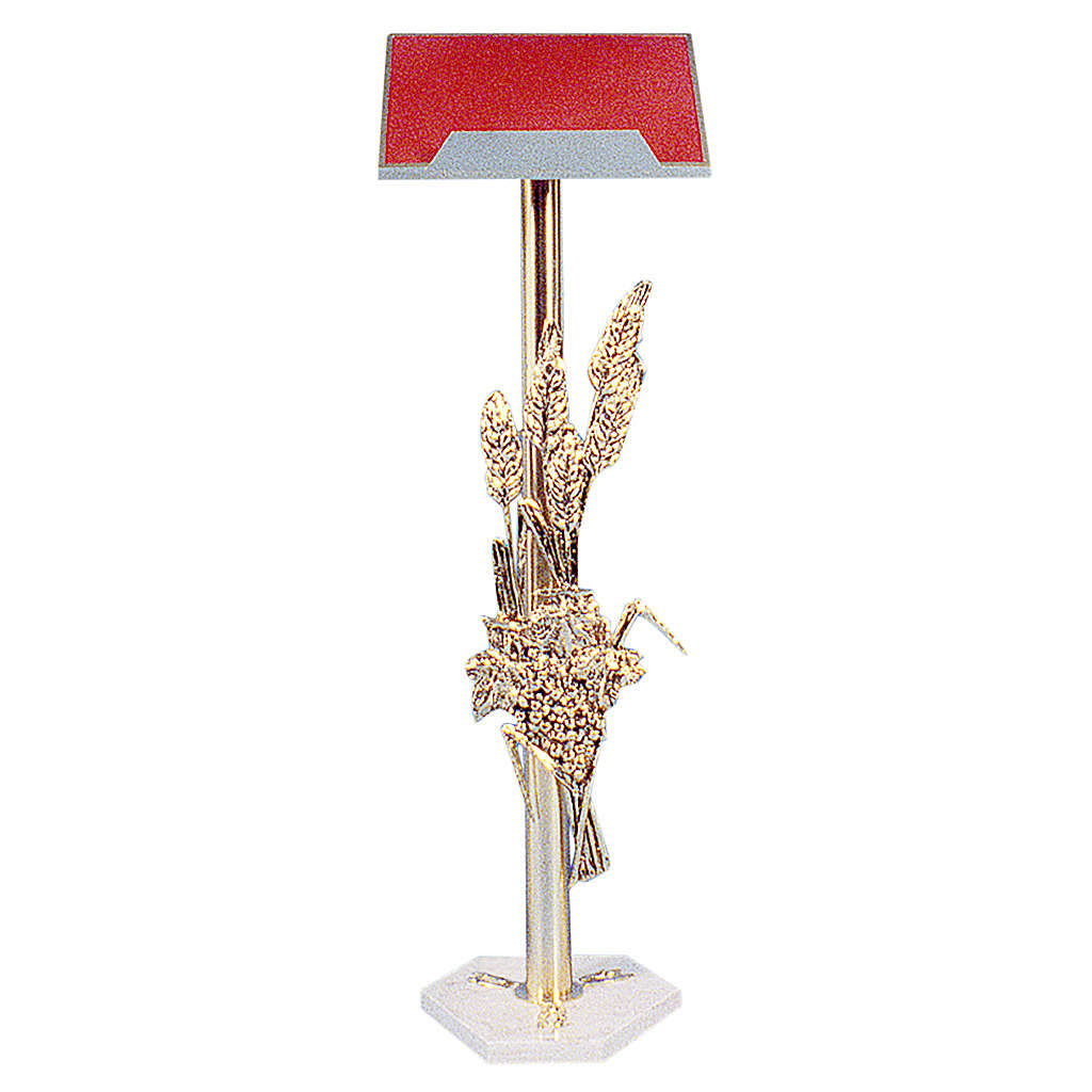 Lectern in cast brass with white marble base 108cm 4