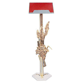 Lectern in cast brass with white marble base 108cm s1