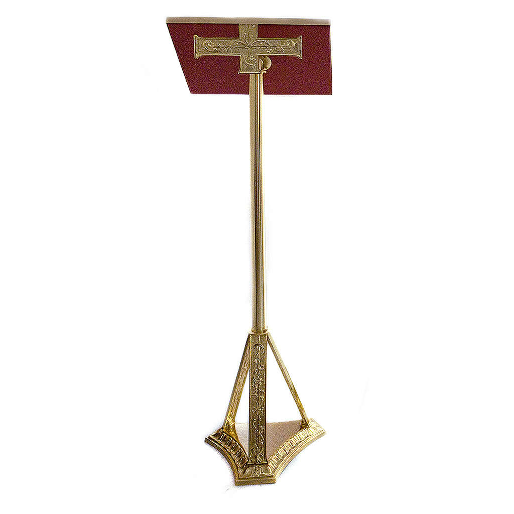 Lectern in golden cast brass 107cm 4