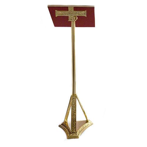 Lectern in golden cast brass 107cm 1