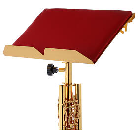 Single-column book stand with marble base in gold brass with stylized design s2
