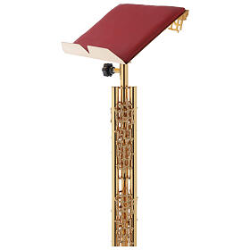 Single-column book stand with marble base in gold brass with stylized design s4