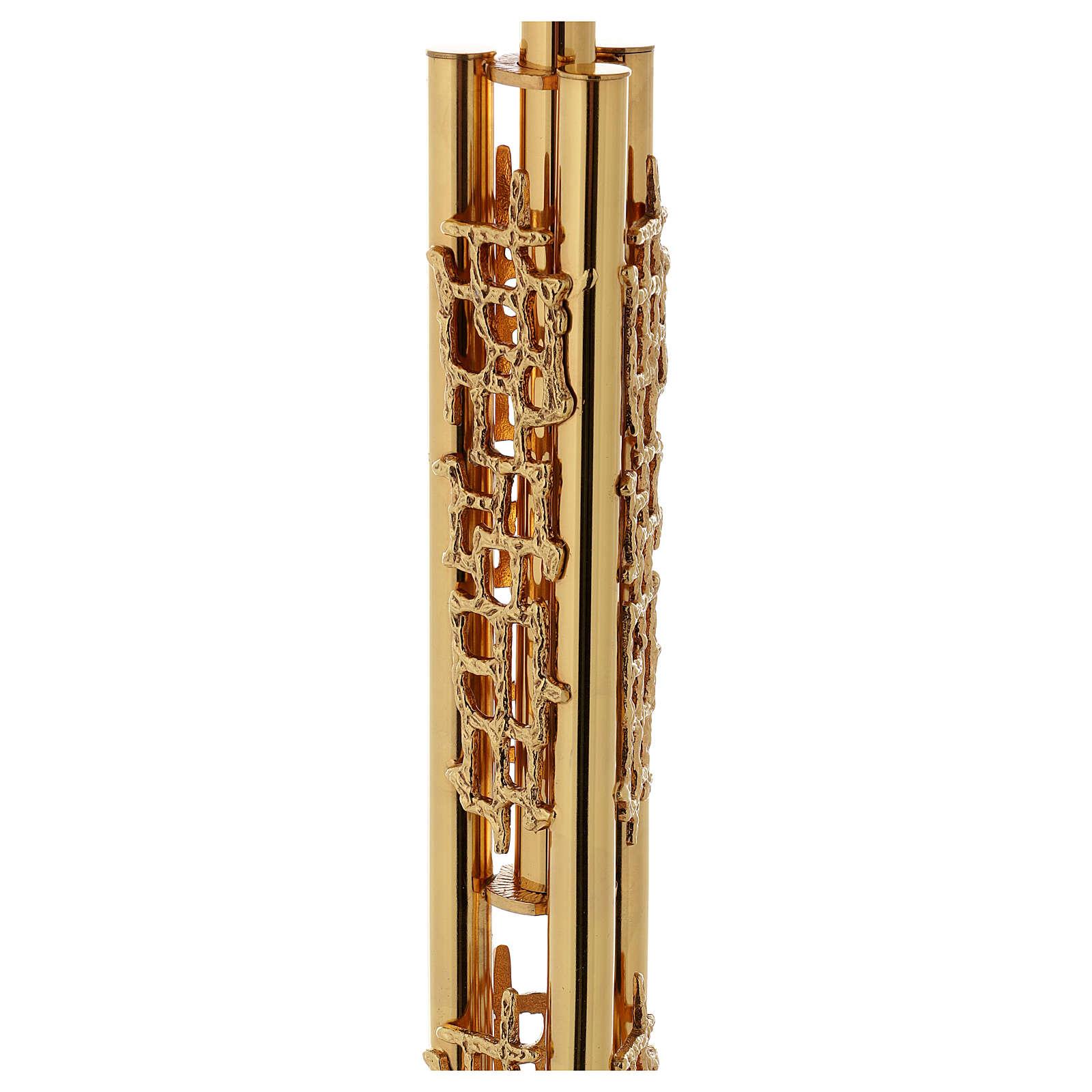 Leggio a colonna ottone dorato disegno stilizzato base marmo 4