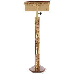 Leggio a colonna ottone dorato disegno stilizzato base marmo s6