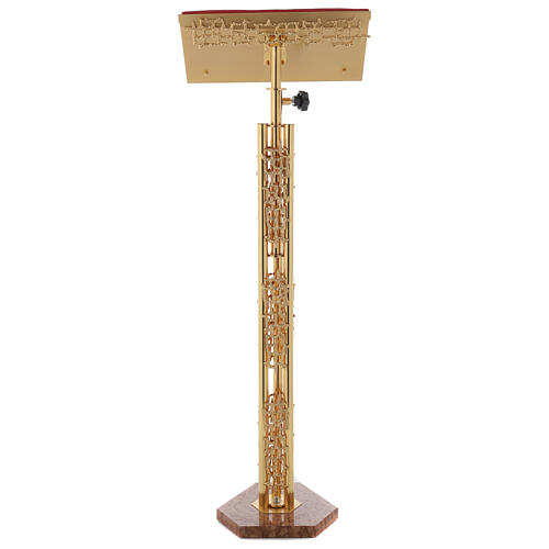 Leggio a colonna ottone dorato disegno stilizzato base marmo 6