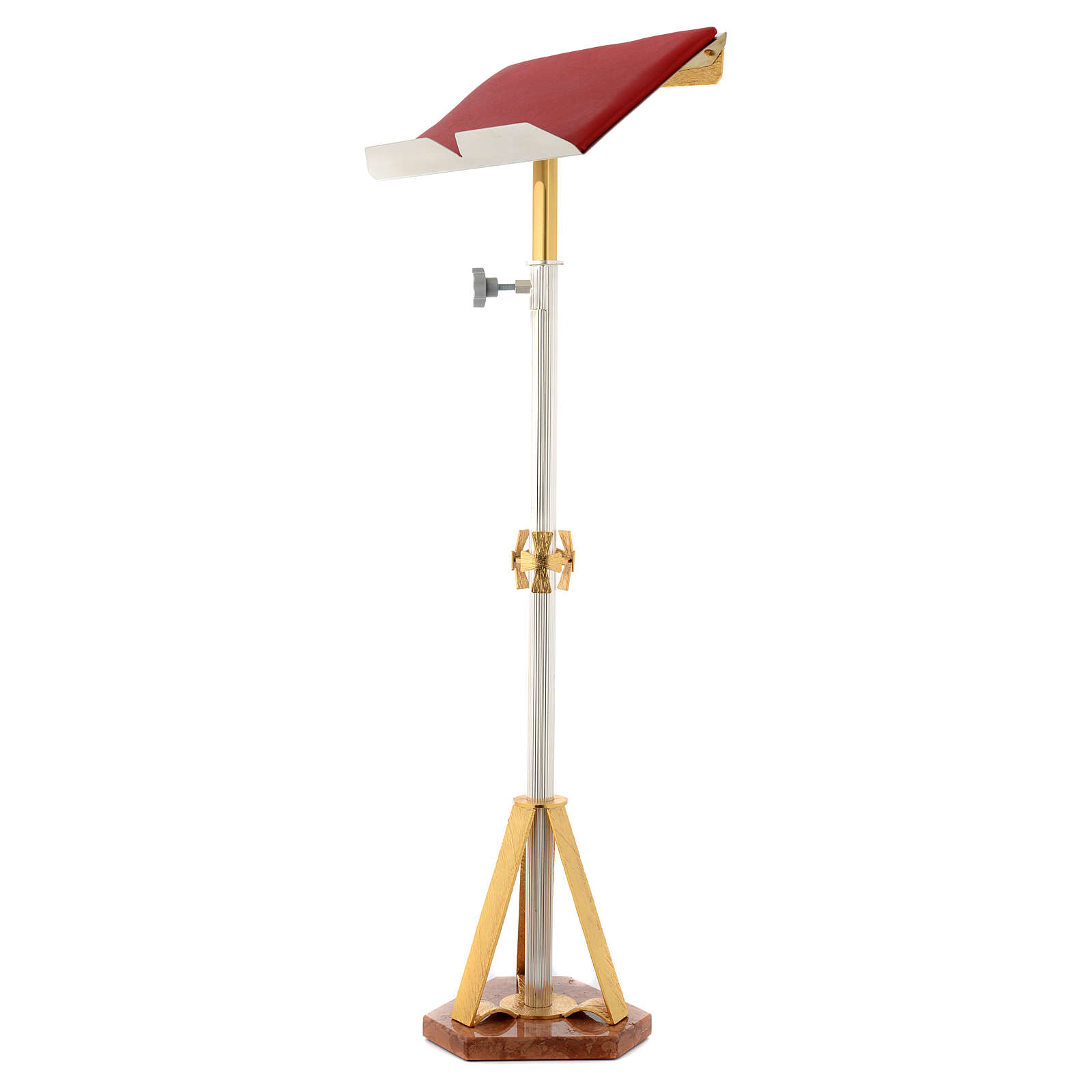 Stem lectern with marble base in brass with crosses 4