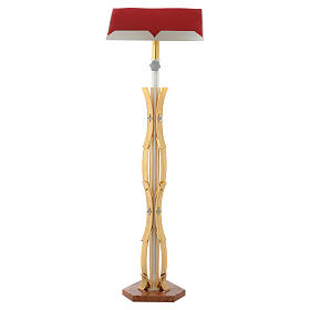 Stem lectern with curved shape in gold brass s1