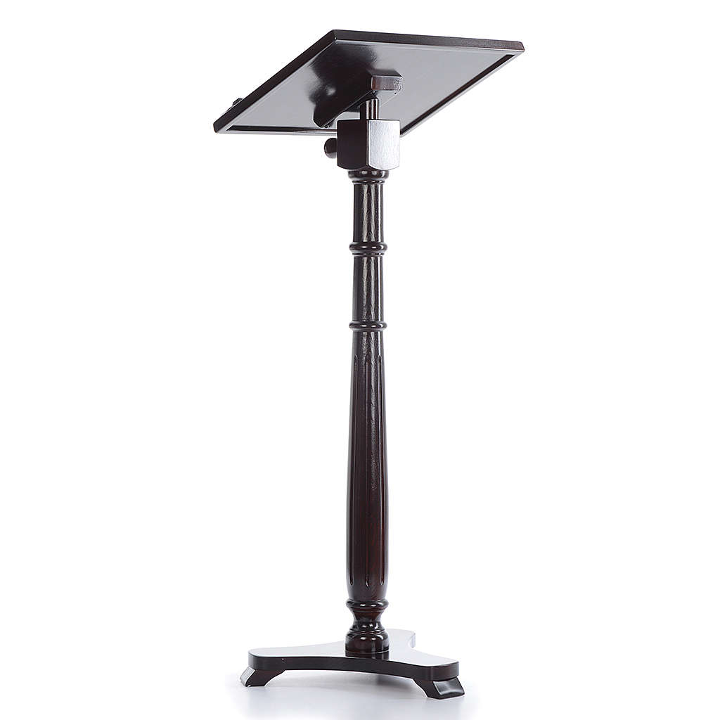 Single-column book stand with round base in wenge coloured walnut wood 4