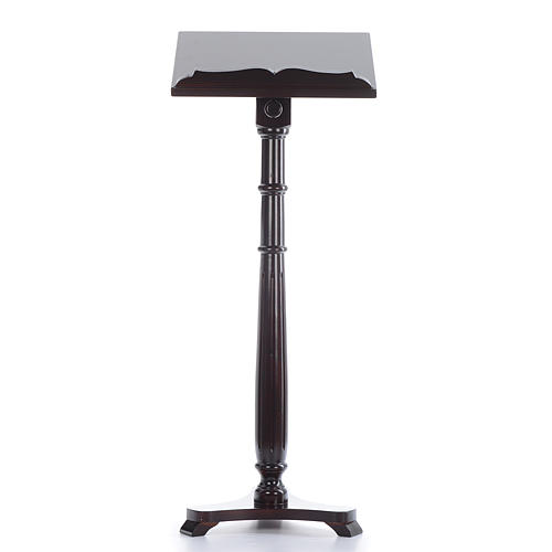 Single-column book stand with round base in wenge coloured walnut wood 1