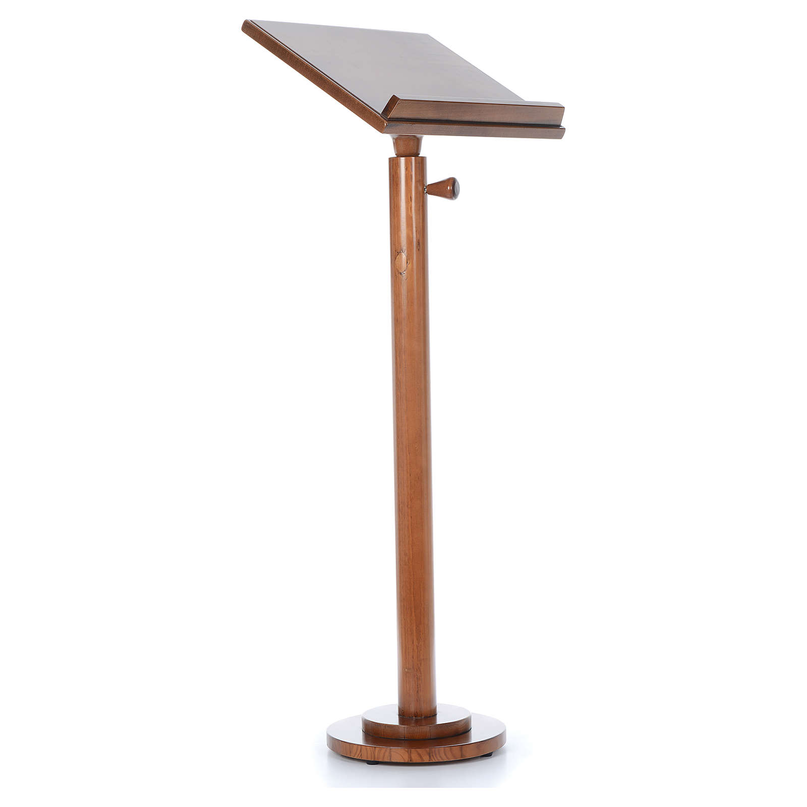 Single-column book stand with round base in light brown wood 4