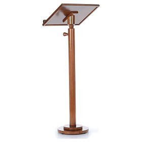 Single-column book stand with round base in light brown wood s4