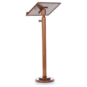 Single-column book stand with round base in light brown wood s9