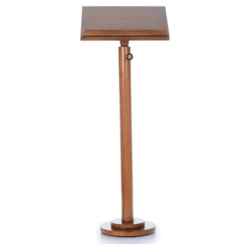 Single-column book stand with round base in light brown wood 1