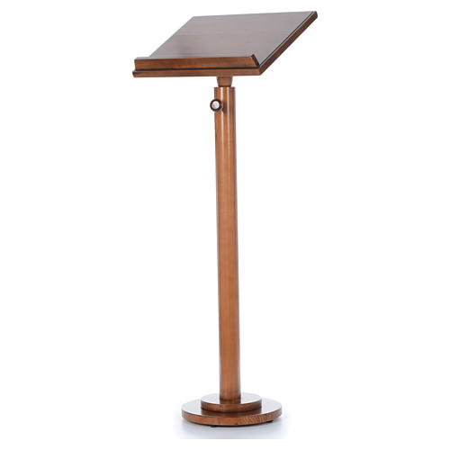 Single-column book stand with round base in light brown wood 2