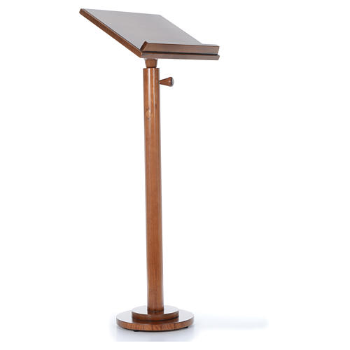 Single-column book stand with round base in light brown wood 3