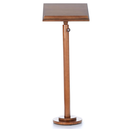 Single-column book stand with round base in light brown wood 6
