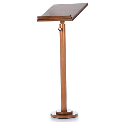 Single-column book stand with round base in light brown wood 7