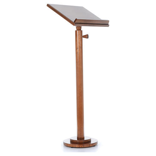 Single-column book stand with round base in light brown wood 8