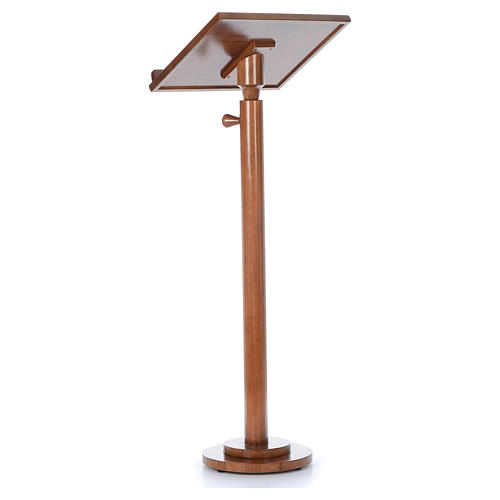 Single-column book stand with round base in light brown wood 9