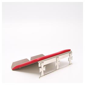 Atril de mesa plateado símil cuero rojo s4
