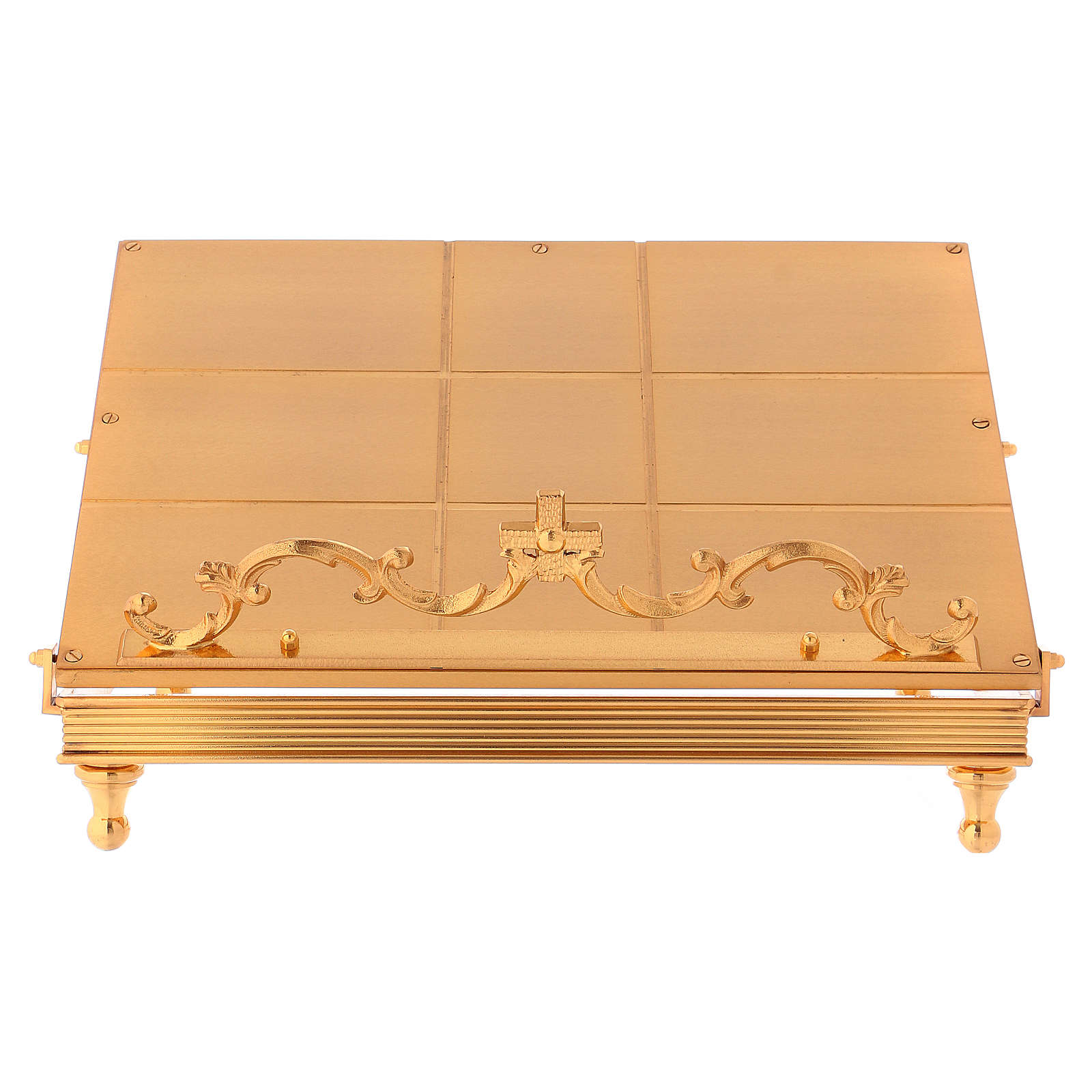 Gold-plated brass book stand with cross 4