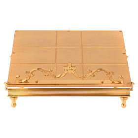 Gold-plated brass book stand with cross s1
