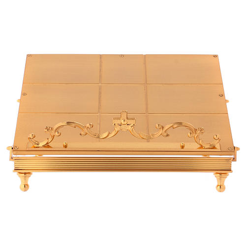 Gold-plated brass book stand with cross 1