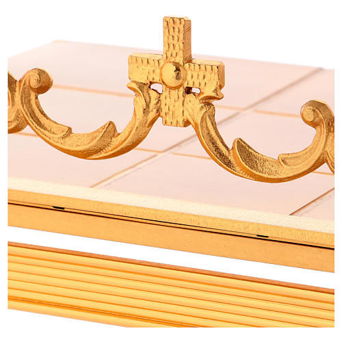 Gold-plated brass book stand with cross 2