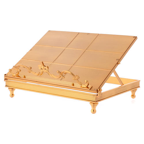 Gold-plated brass book stand with cross 3