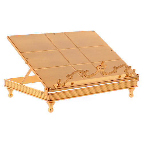 Gold-plated brass book stand with cross 5