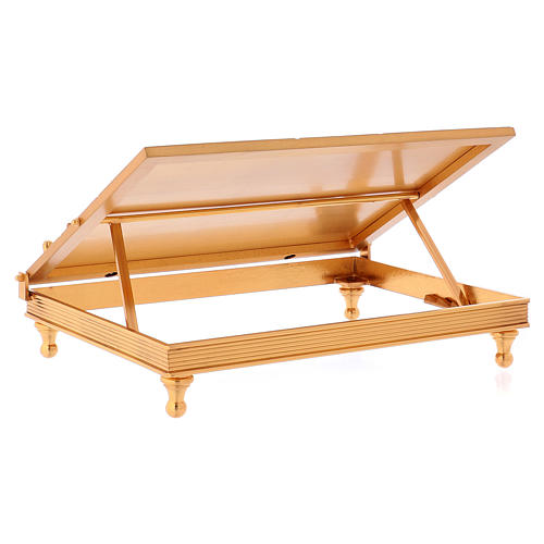 Gold-plated brass book stand with cross 7
