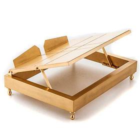 Leggio da tavolo in ottone dorato s2