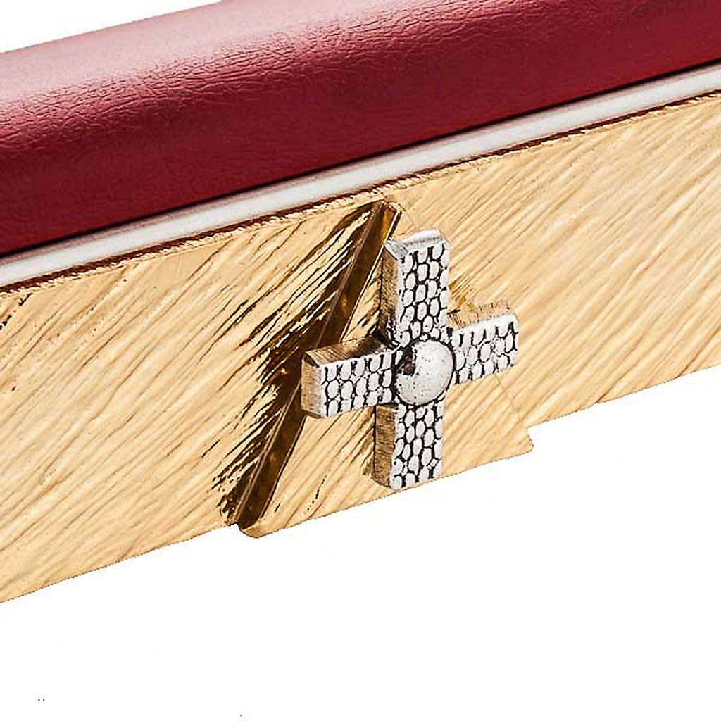 Brass book stand with cushion and cross 4