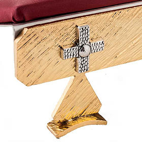 Brass book stand with cushion and cross s4