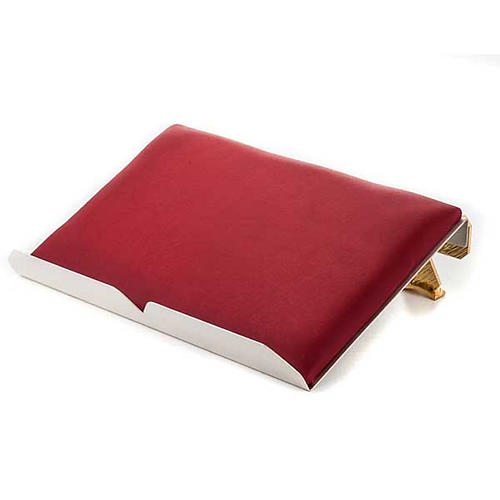 Brass book stand with cushion and cross 2