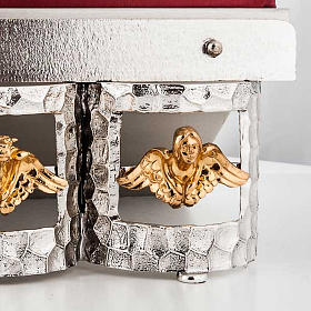 Golden and silver brass book stand with cushion s3