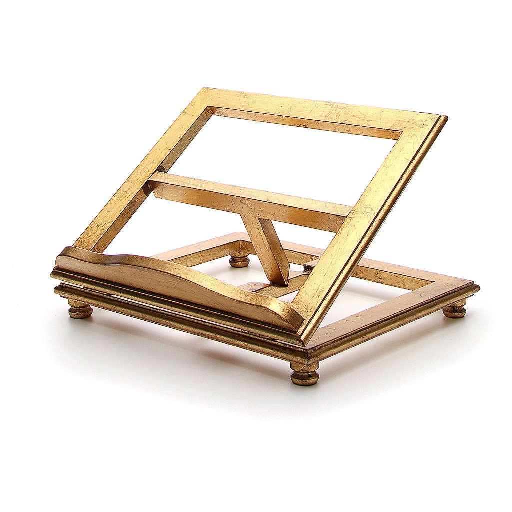 Atril de mesa madera hoja de oro 4