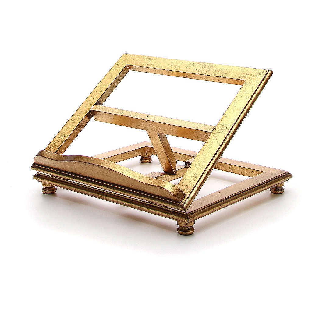 Leggio da tavolo legno foglia oro 4