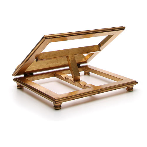 Leggio da tavolo legno foglia oro 7