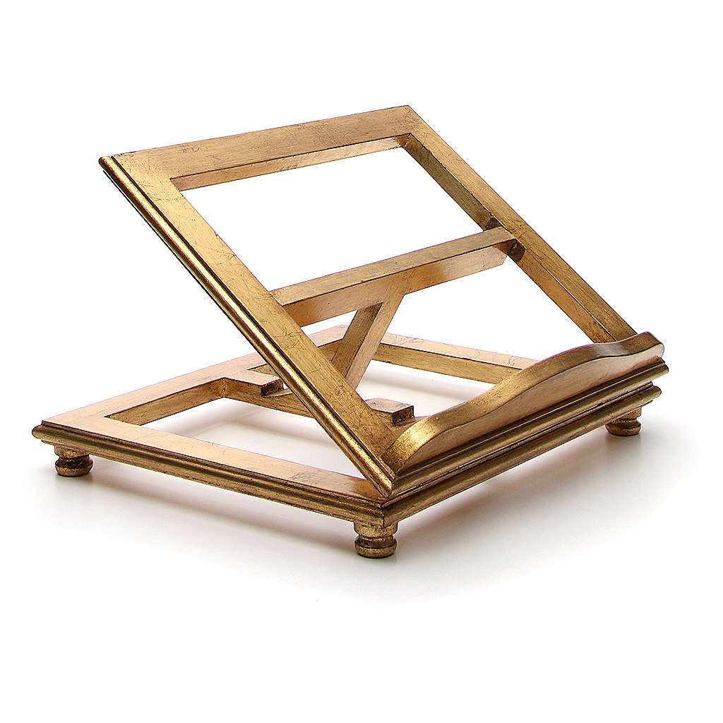 Estante de mesa madeira folha ouro 4